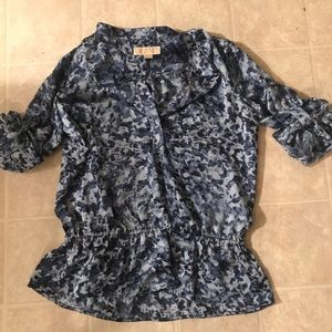 Women's Michael Kors Navy and Light Blue Blouse